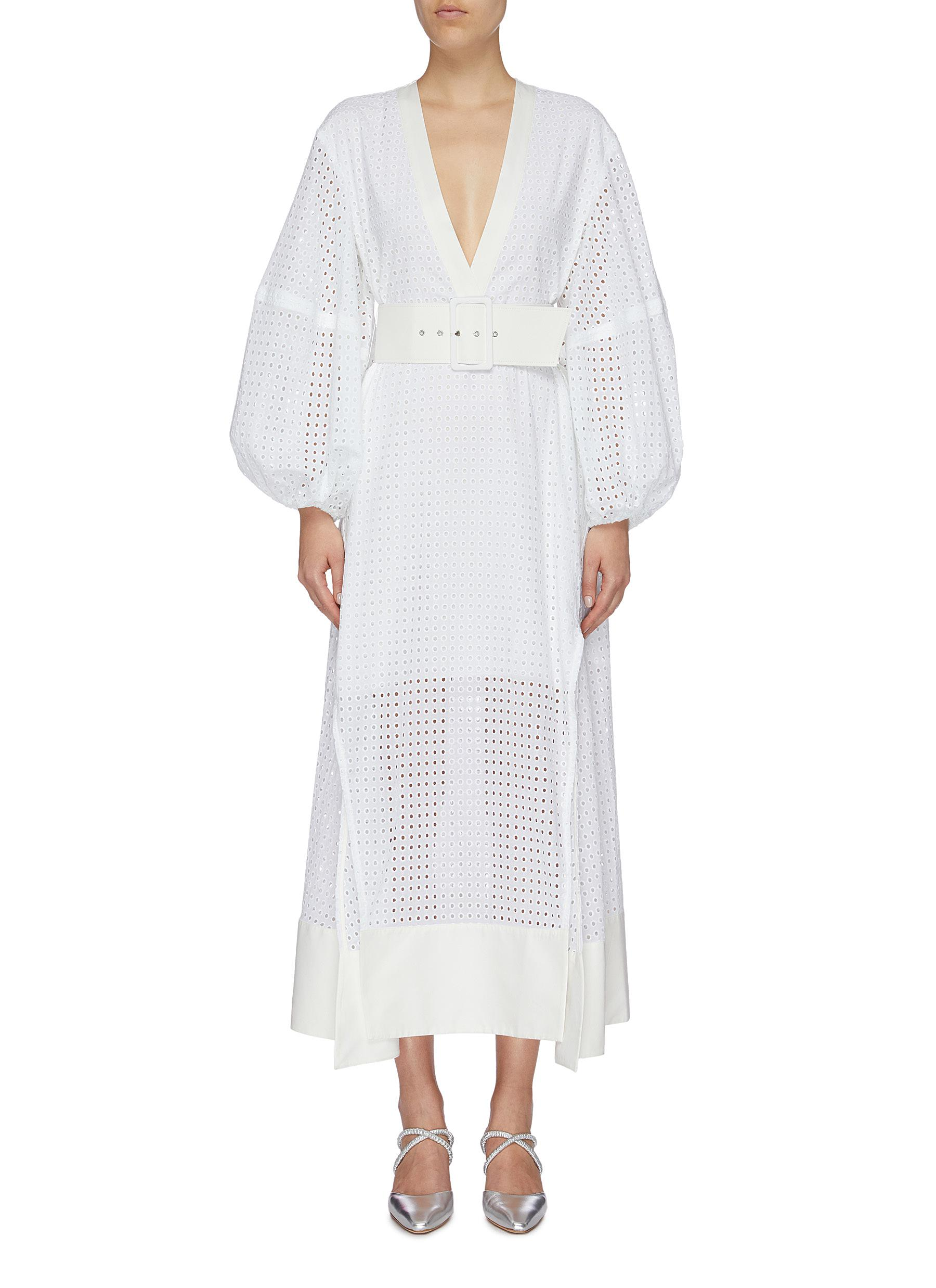 Cora belted puff sleeve broderie anglaise V-neck dress by Solace London