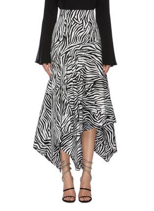 Main View - Click To Enlarge - SOLACE LONDON - 'Lonnie' zebra stripe asymmetric handkerchief skirt
