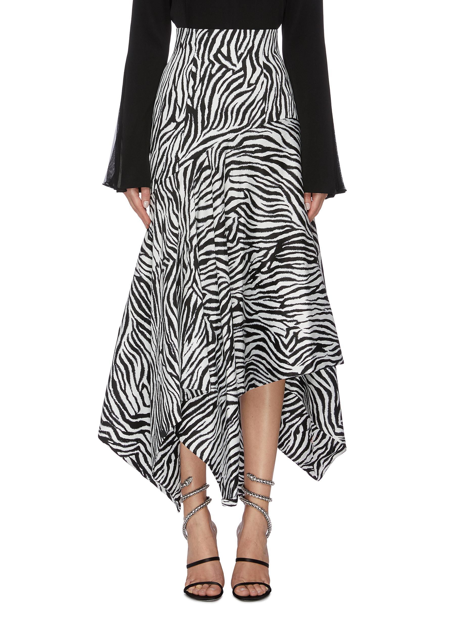 Lonnie zebra stripe asymmetric handkerchief skirt by Solace London