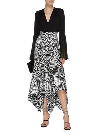 Figure View - Click To Enlarge - SOLACE LONDON - 'Lonnie' zebra stripe asymmetric handkerchief skirt