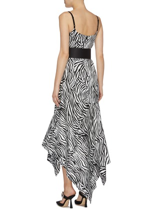 Back View - Click To Enlarge - SOLACE LONDON - 'Marisol' belted zebra stripe asymmetric handkerchief dress