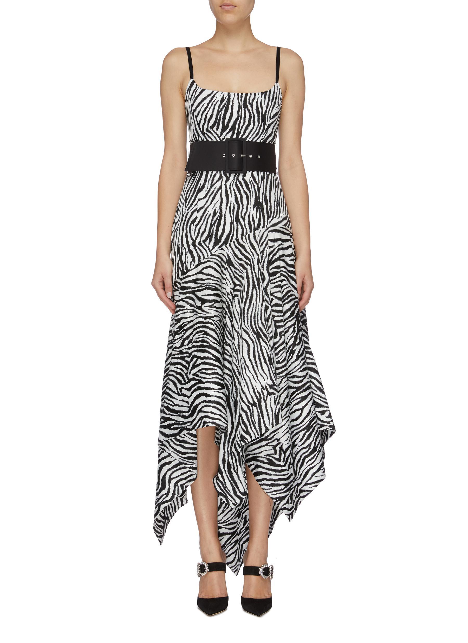 Marisol belted zebra stripe asymmetric handkerchief dress by Solace London