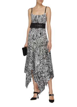 Figure View - Click To Enlarge - SOLACE LONDON - 'Marisol' belted zebra stripe asymmetric handkerchief dress