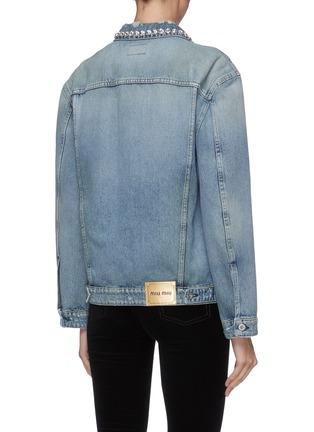 Back View - Click To Enlarge - MIU MIU - Glass crystal collar denim jacket