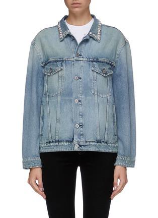 Main View - Click To Enlarge - MIU MIU - Glass crystal collar denim jacket