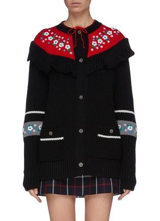 Main View - Click To Enlarge - MIU MIU - Floral embroidered bib oversized virgin wool cardigan