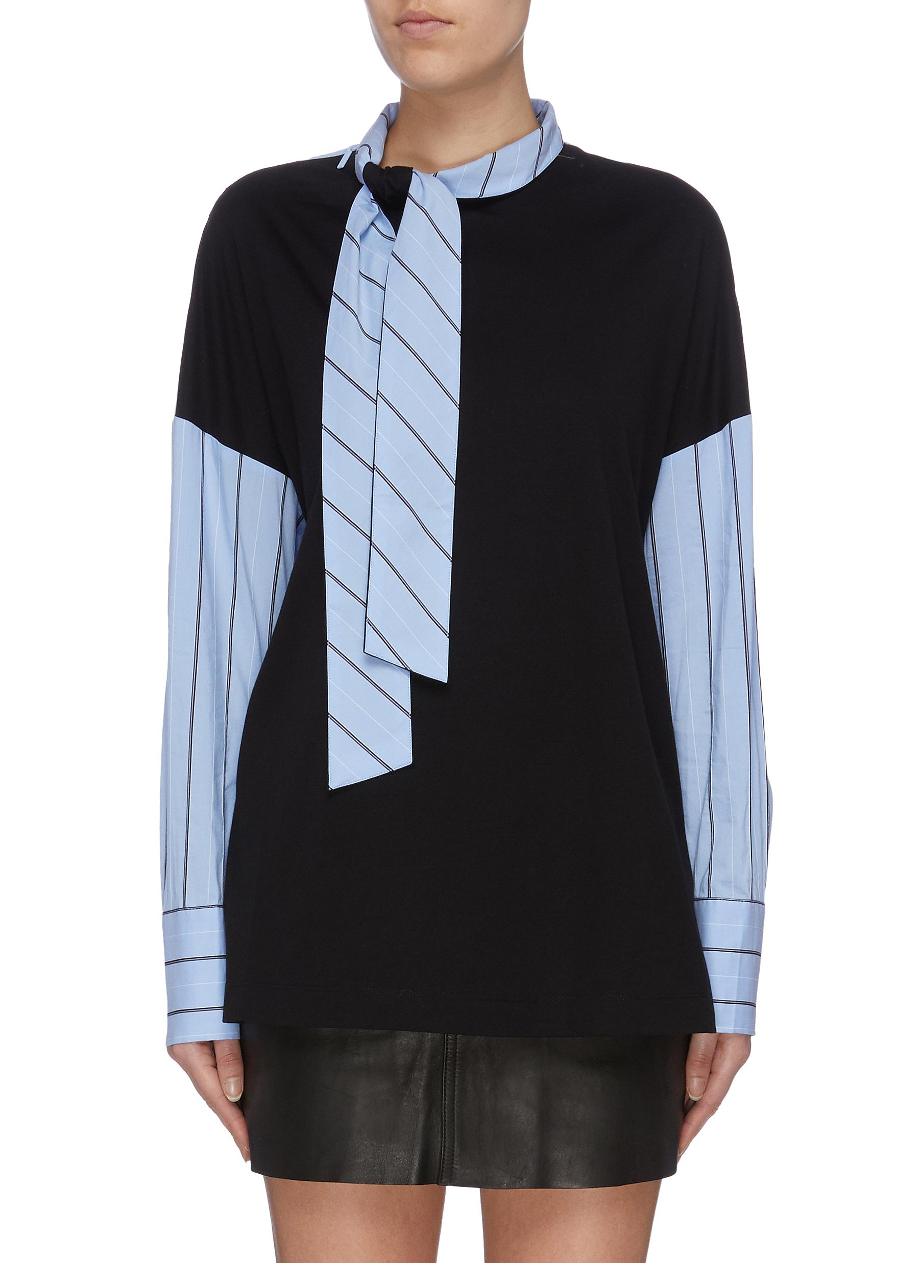 Sash tie neck colourblock stripe shirt by Tibi