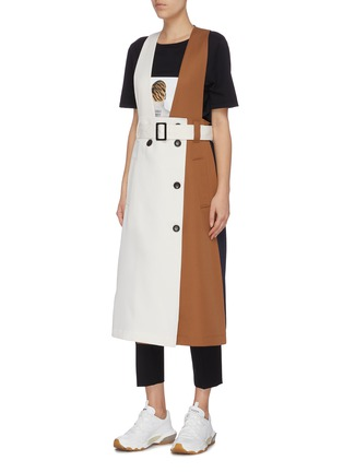 Detail View - Click To Enlarge - TIBI - Detachable trench colourblock twill coat