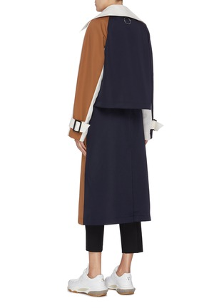 Back View - Click To Enlarge - TIBI - Detachable trench colourblock twill coat