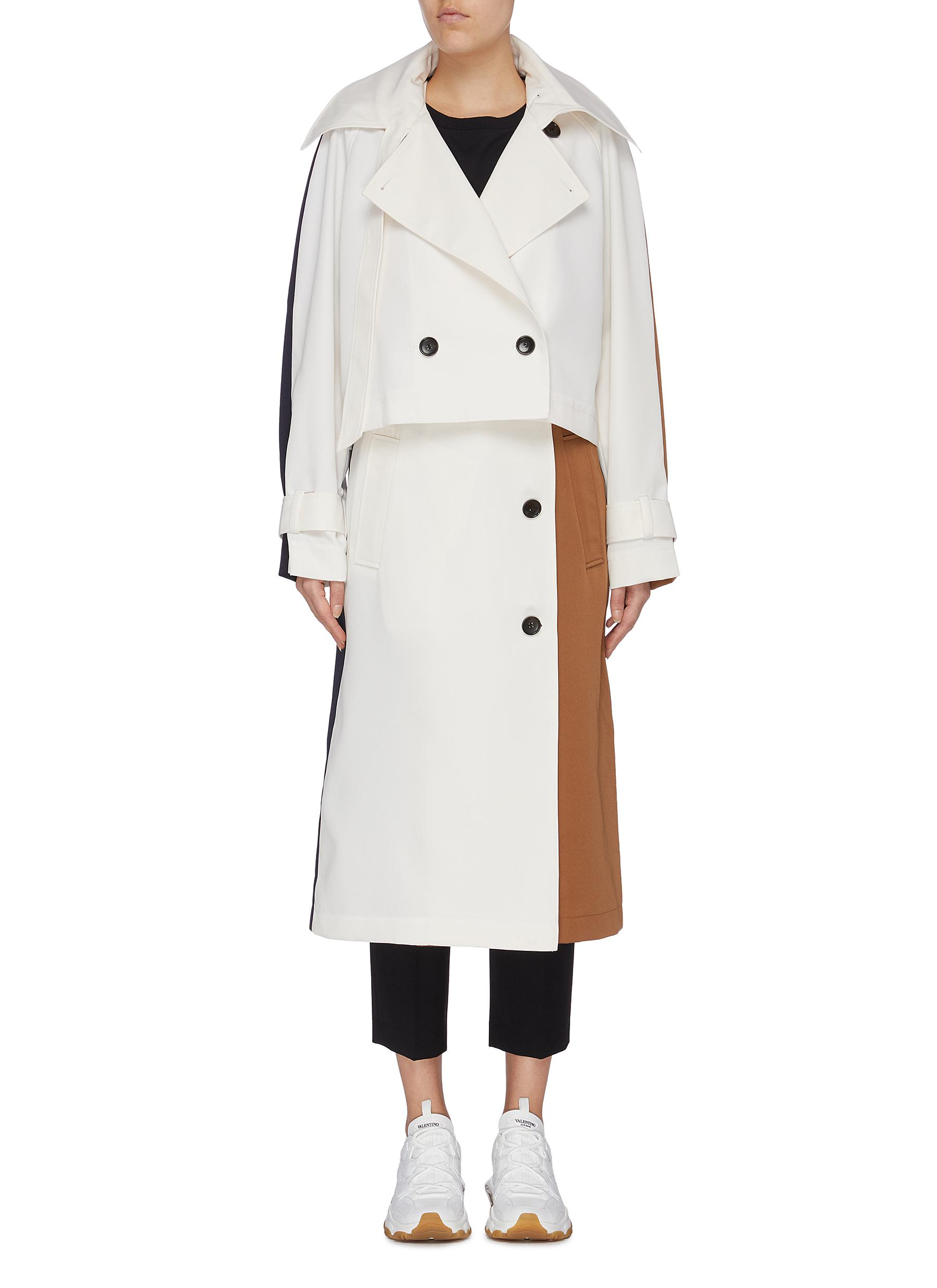 Detachable trench colourblock twill coat by Tibi