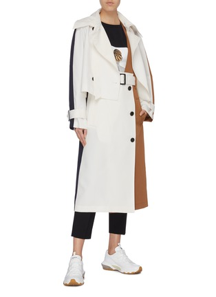 Figure View - Click To Enlarge - TIBI - Detachable trench colourblock twill coat