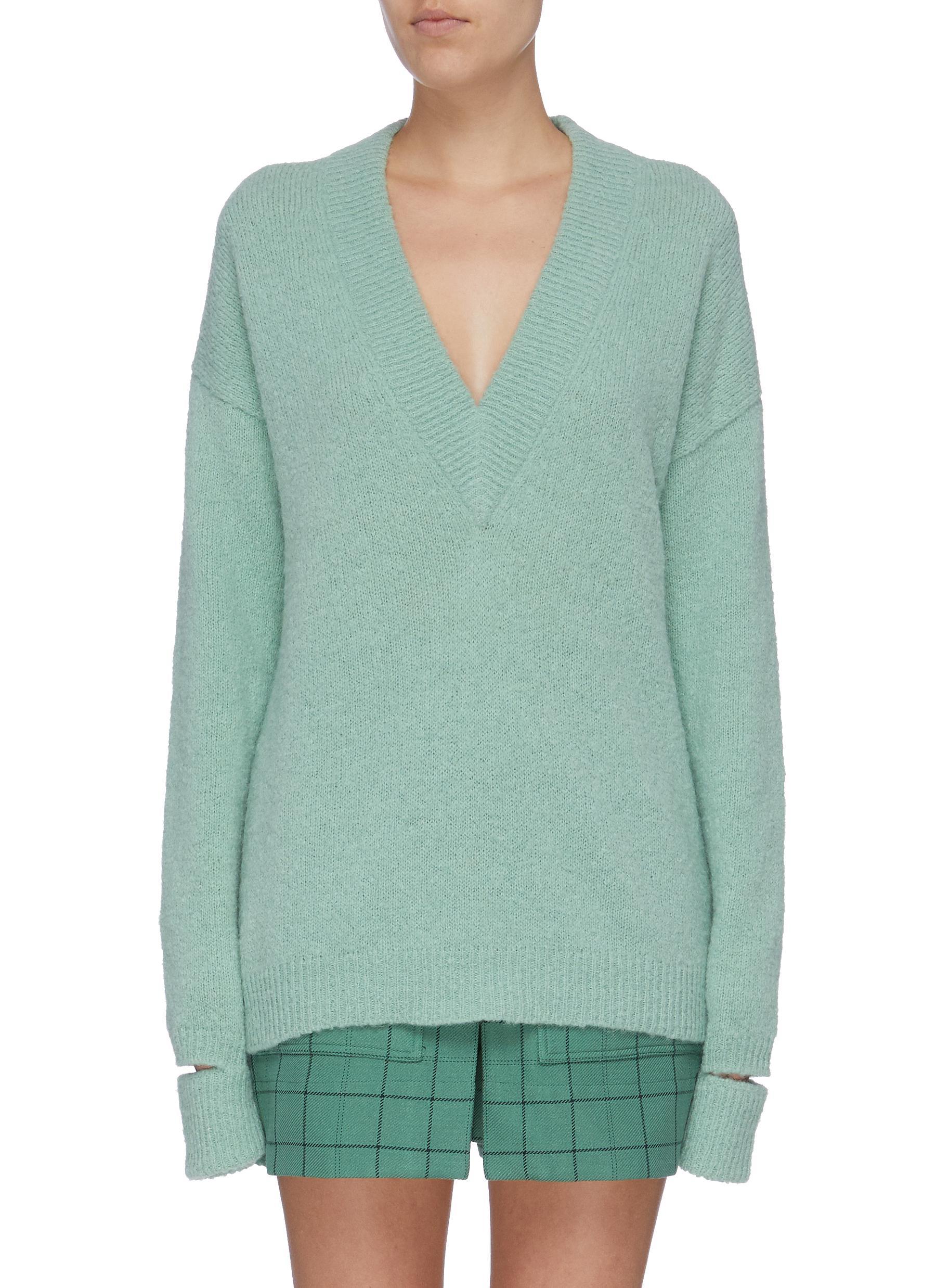 Split cuff alpaca blend sweater by Tibi