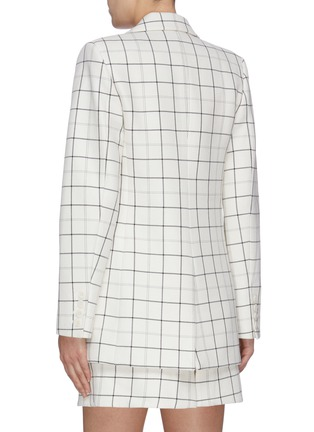 Back View - Click To Enlarge - TIBI - Double breasted windowpane check twill blazer