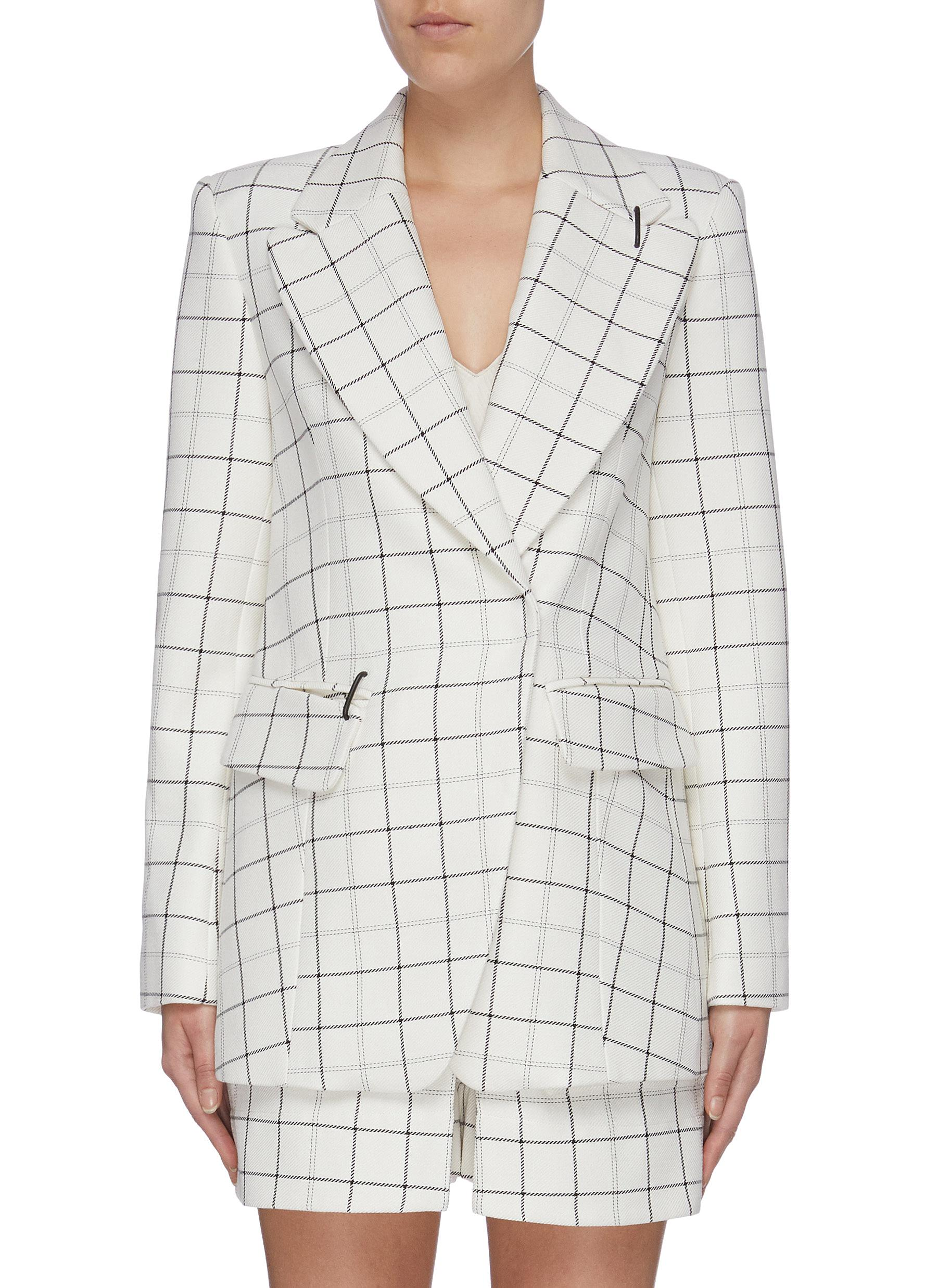 Double breasted windowpane check twill blazer by Tibi
