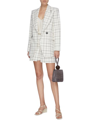 Figure View - Click To Enlarge - TIBI - Double breasted windowpane check twill blazer