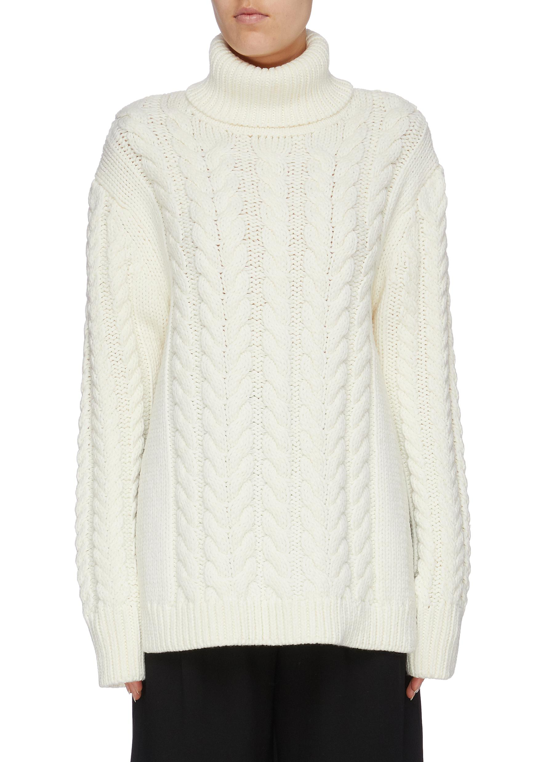 Buckle cutout back cable knit turtleneck sweater by Tibi