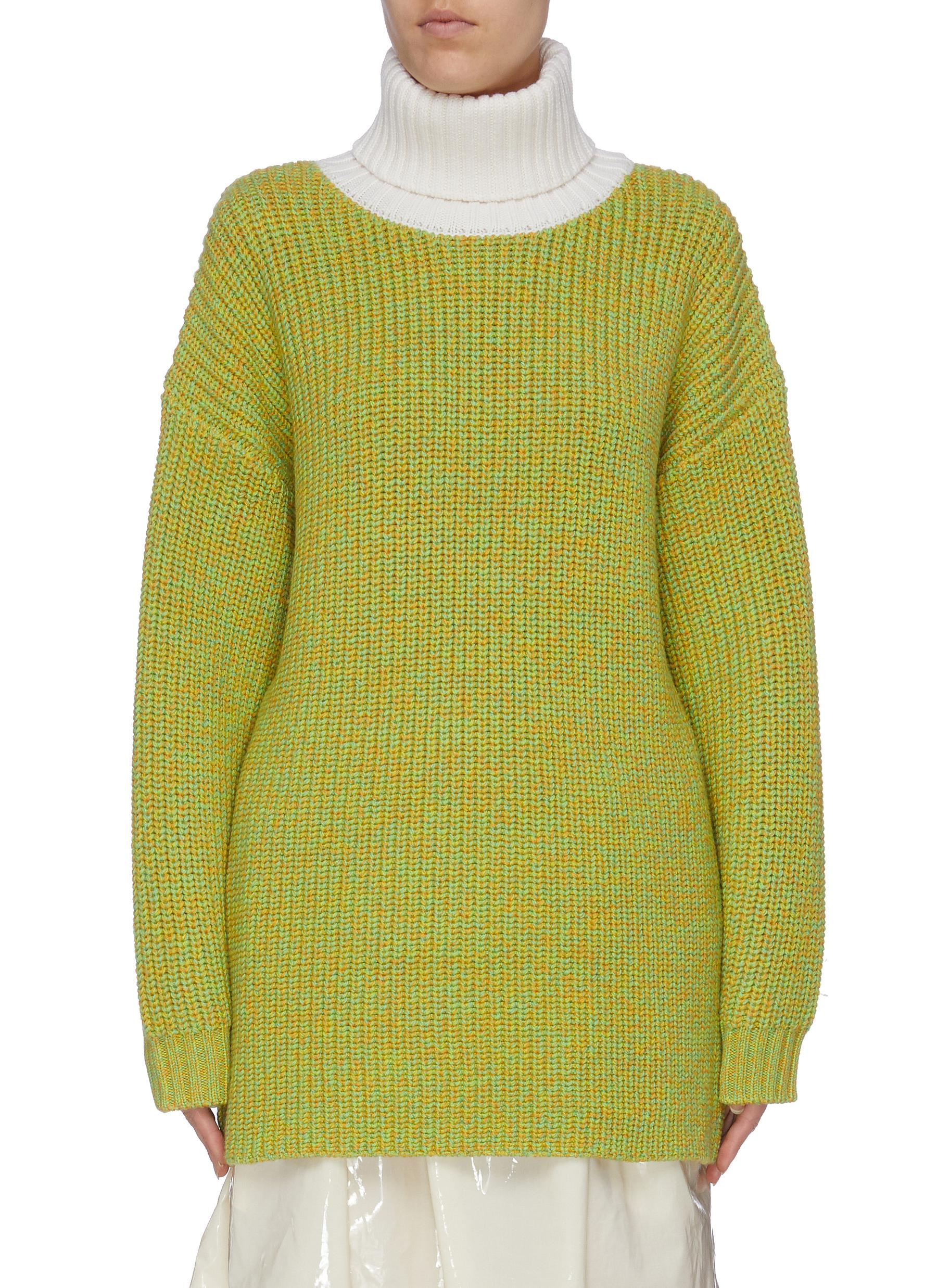 Tweedy oversized merino wool turtleneck sweater by Tibi