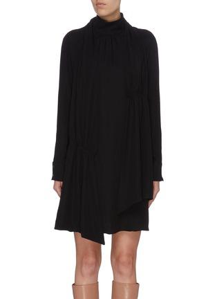 Main View - Click To Enlarge - TIBI - 'Modern' mock neck shirred drape panel dress