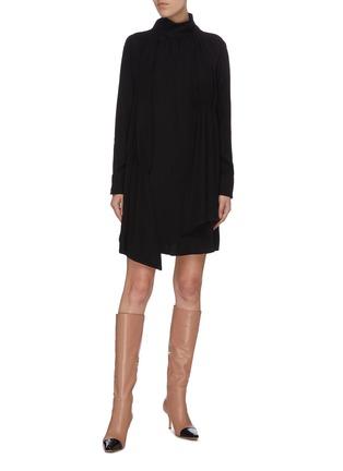 Figure View - Click To Enlarge - TIBI - 'Modern' mock neck shirred drape panel dress