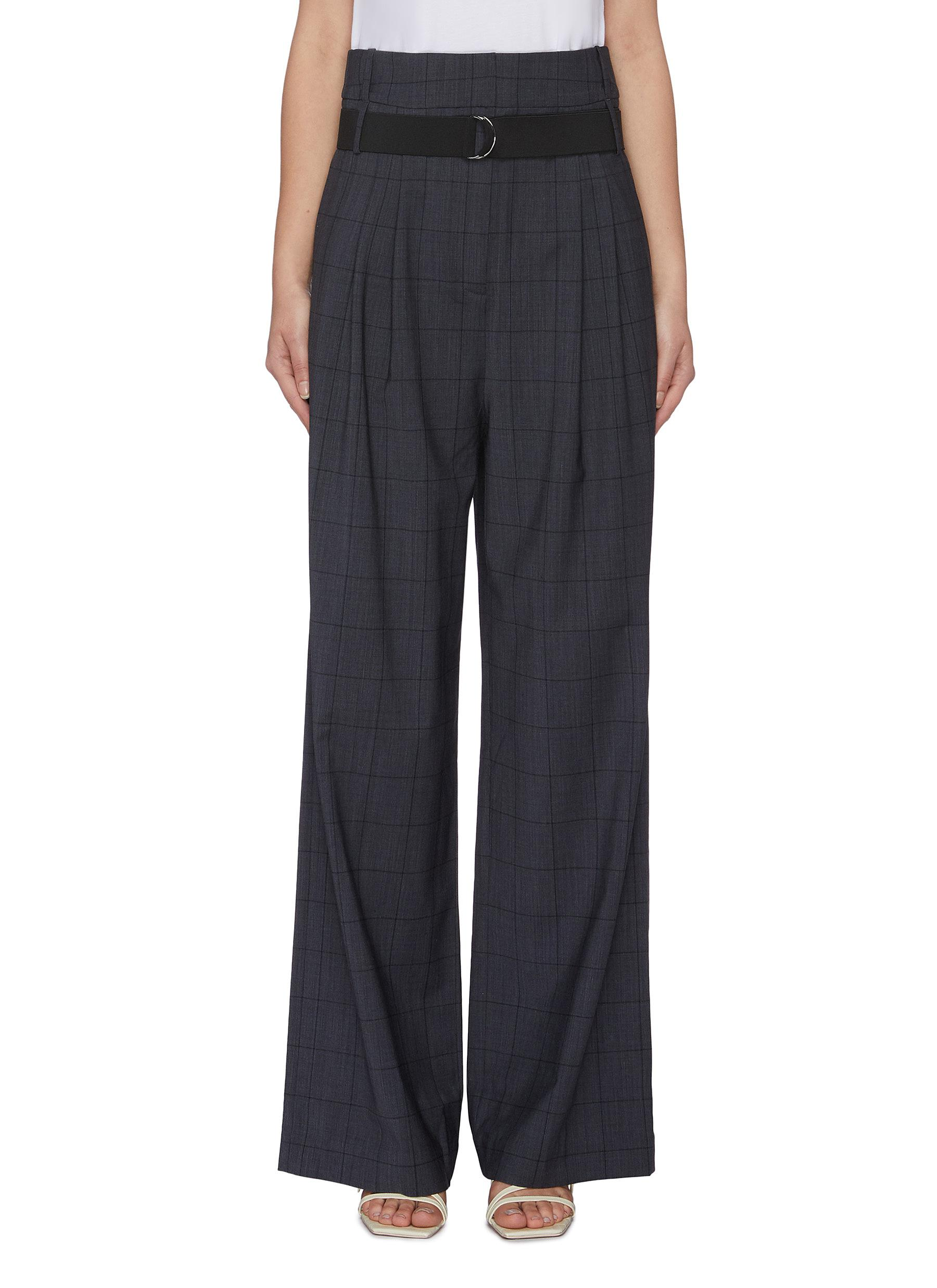 Menswear belted windowpane check wool blend pants by Tibi
