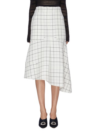 Main View - Click To Enlarge - TIBI - Windowpane check panelled asymmetric cargo skirt