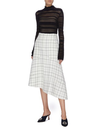Figure View - Click To Enlarge - TIBI - Windowpane check panelled asymmetric cargo skirt
