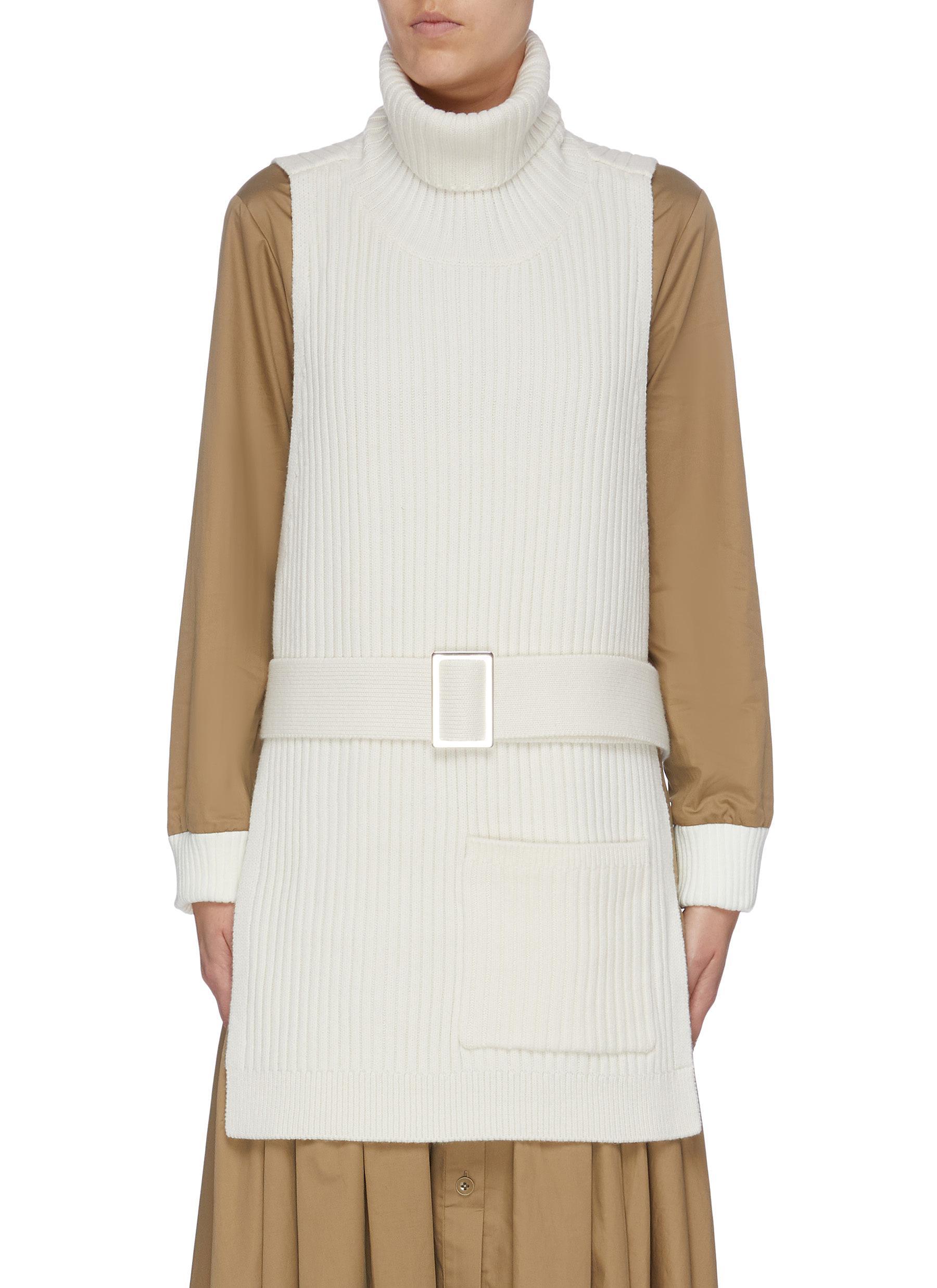 Belted merino wool rib knit turtleneck apron by Tibi