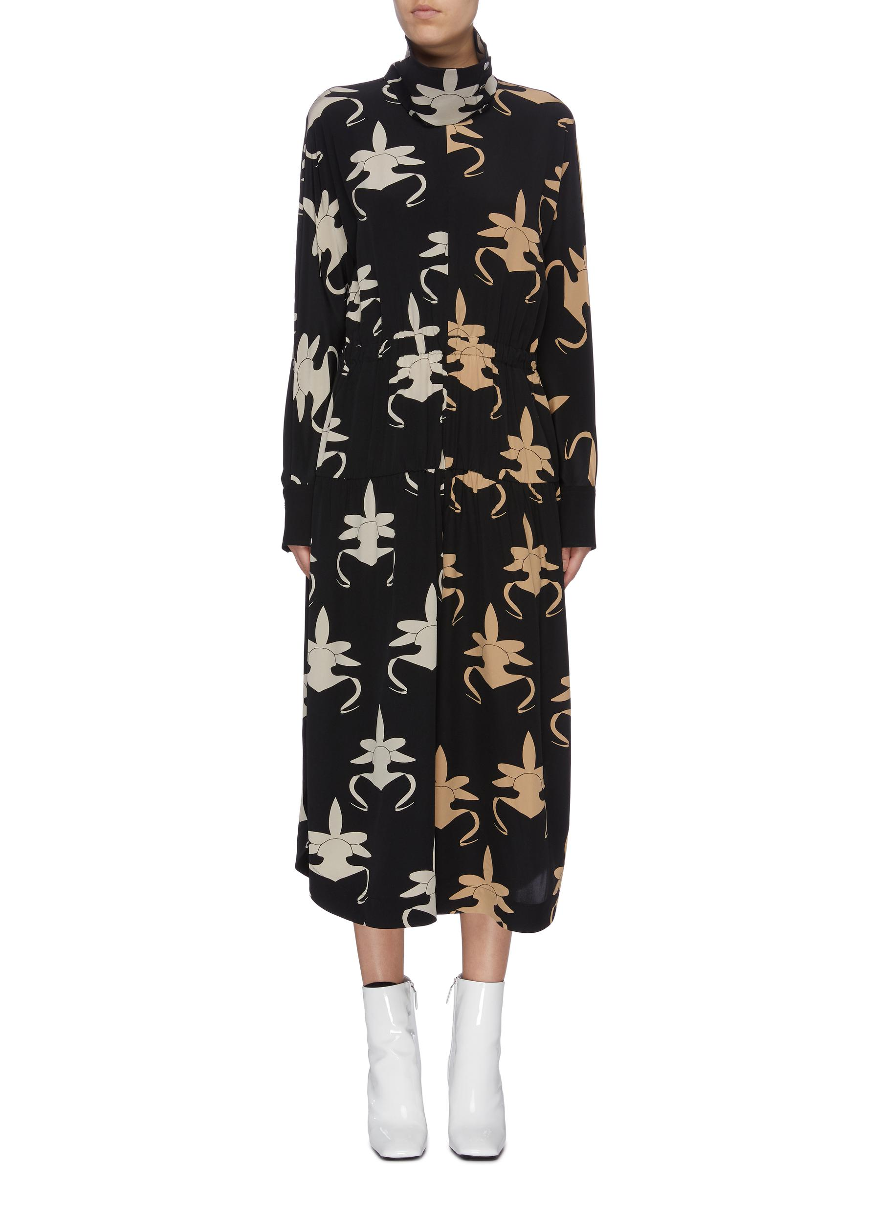 Ghost Orchid print silk jumpsuit by Tibi