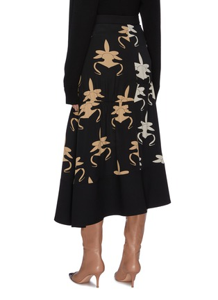 Back View - Click To Enlarge - TIBI - 'Ghost Orchid' print shirred panel silk asymmetric skirt