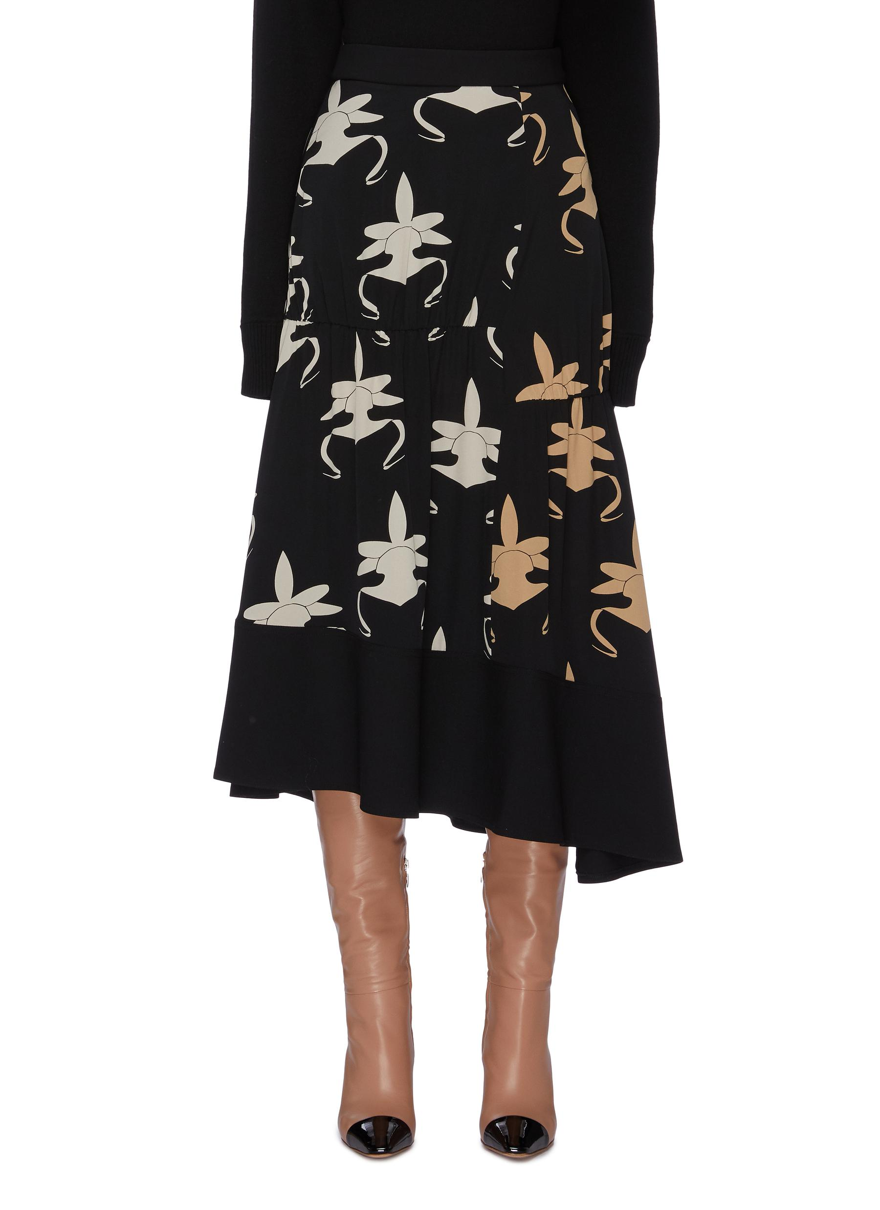 Ghost Orchid print shirred panel silk asymmetric skirt by Tibi