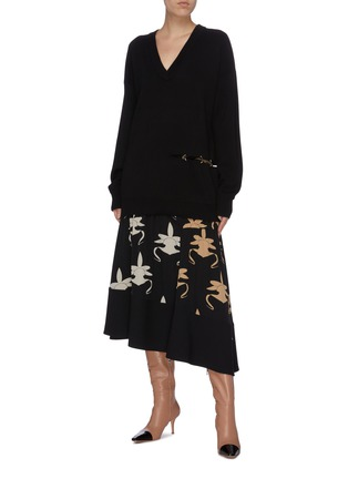 Figure View - Click To Enlarge - TIBI - 'Ghost Orchid' print shirred panel silk asymmetric skirt