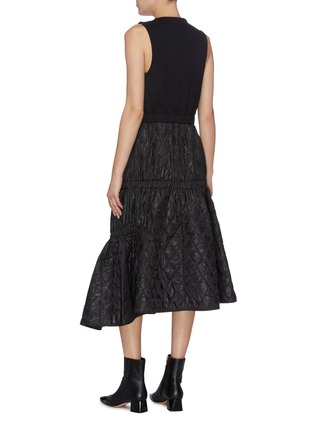 Back View - Click To Enlarge - TIBI - Quilted asymmetric hem sleeveless zip dress