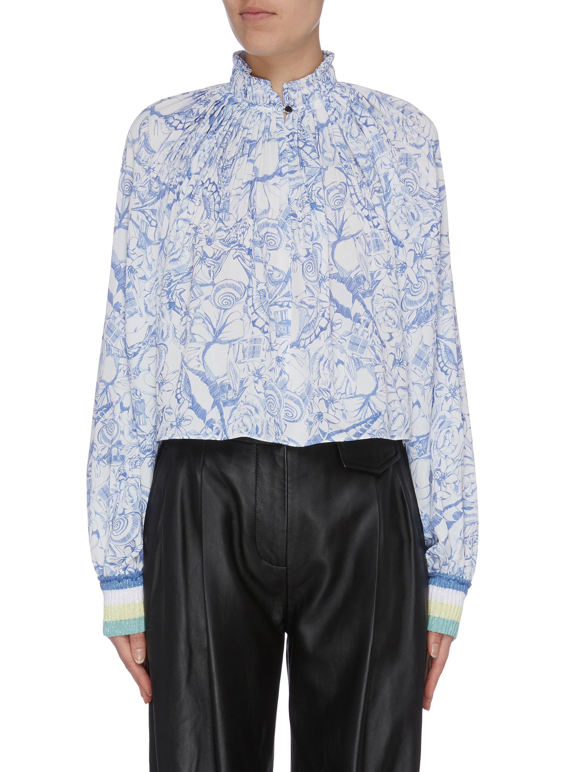 Isa Toile print ruched collar top by Tibi