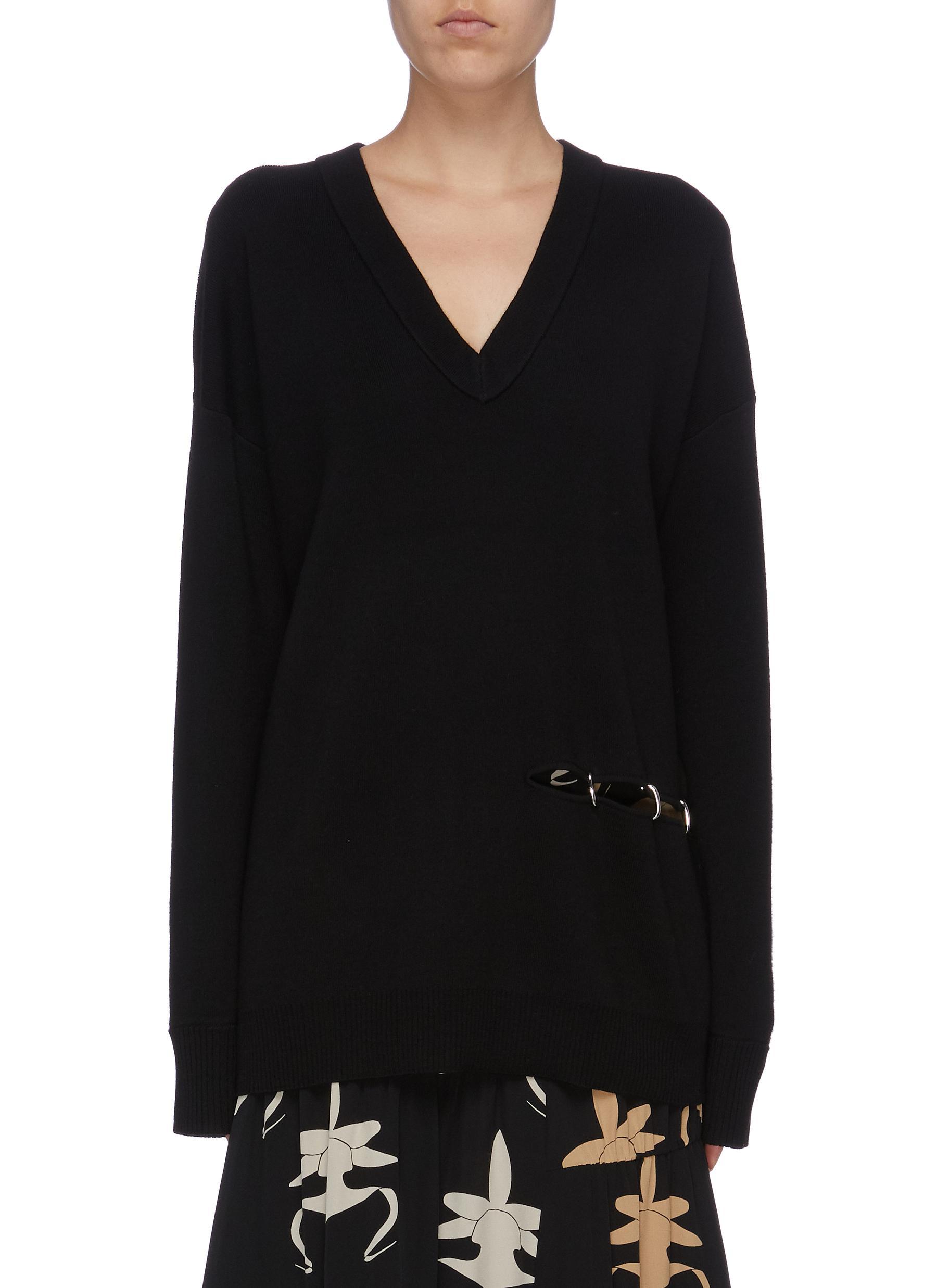 Split side wool tunic sweater by Tibi