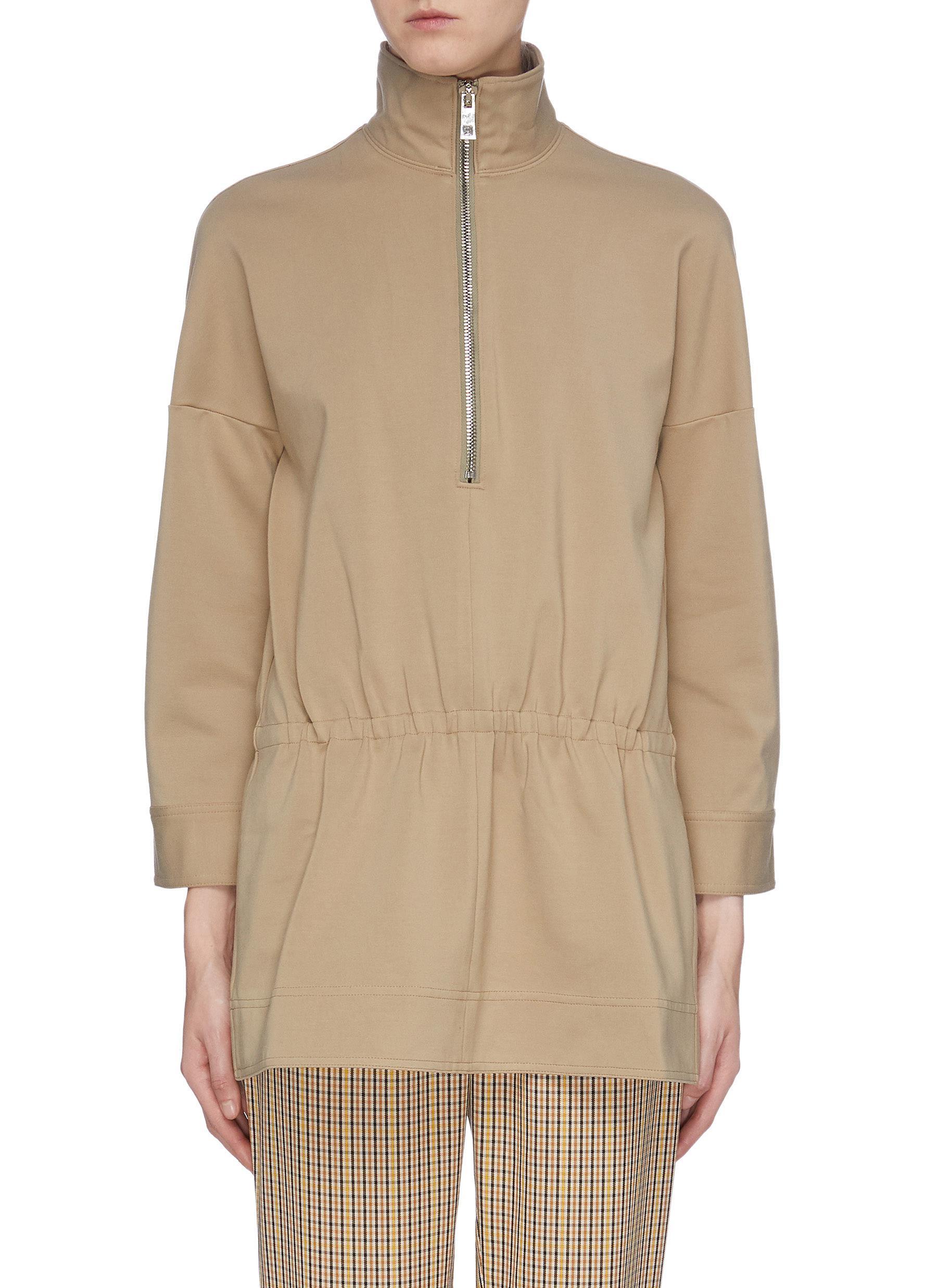 Bond elastic waist half zip tunic top by Tibi
