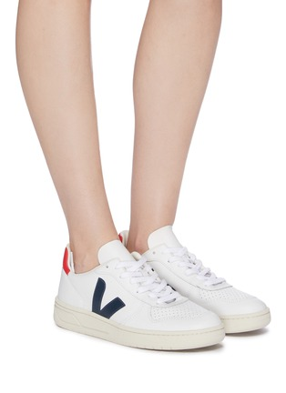 Figure View - Click To Enlarge - VEJA - 'V-10' perforated leather sneakers