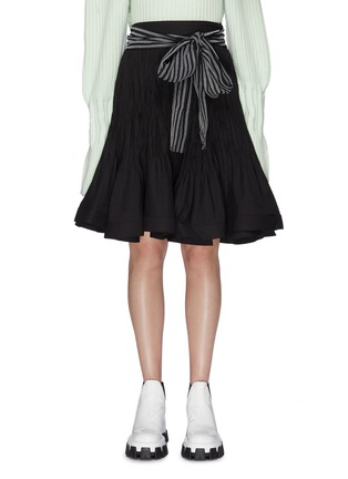 Main View - Click To Enlarge - JW ANDERSON - Sash belted pleated flared skirt