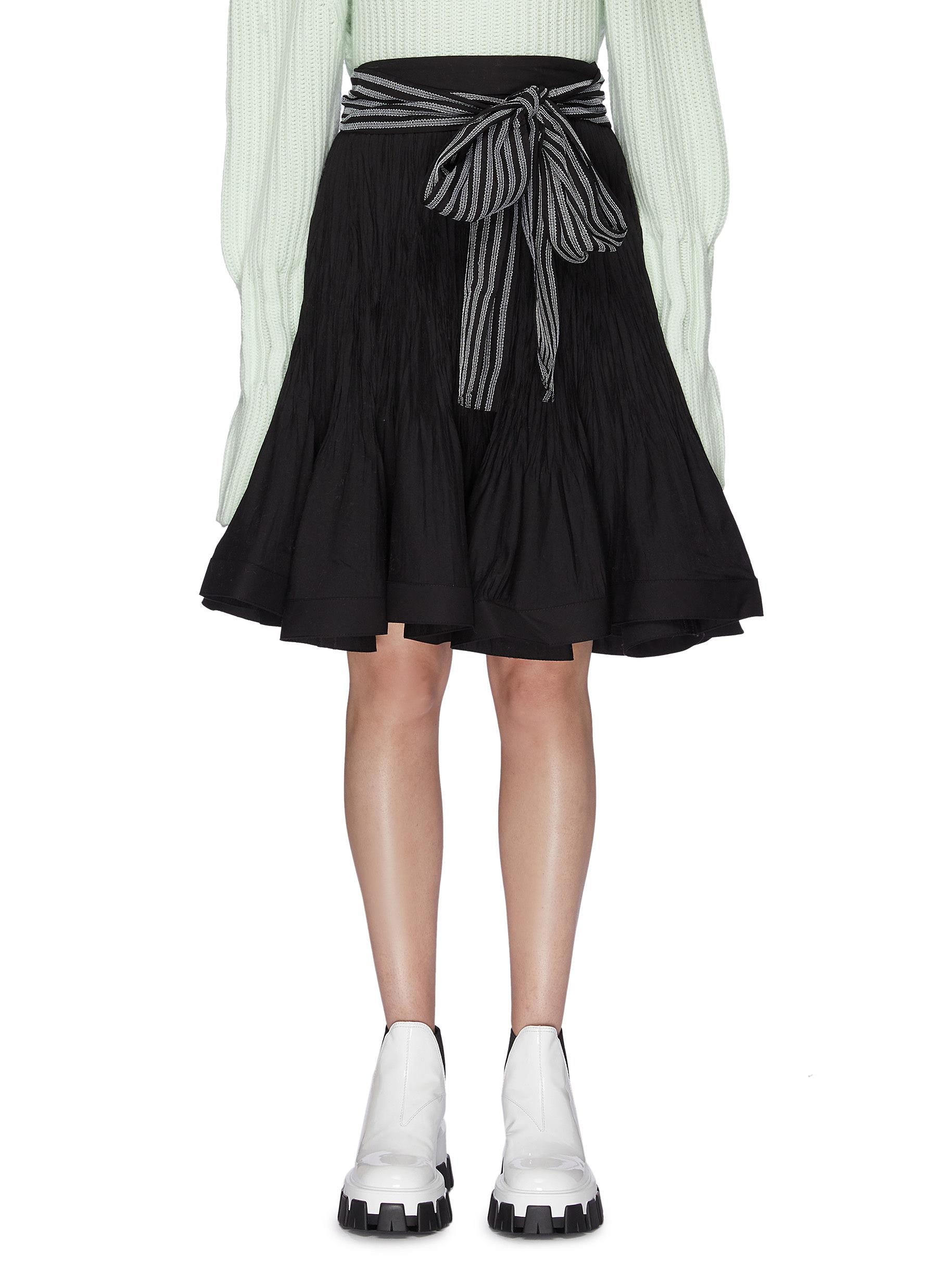 Sash belted pleated flared skirt by Jw Anderson