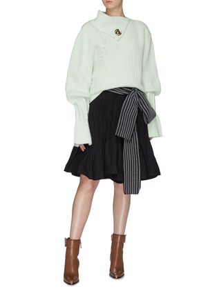 Figure View - Click To Enlarge - JW ANDERSON - Sash belted pleated flared skirt