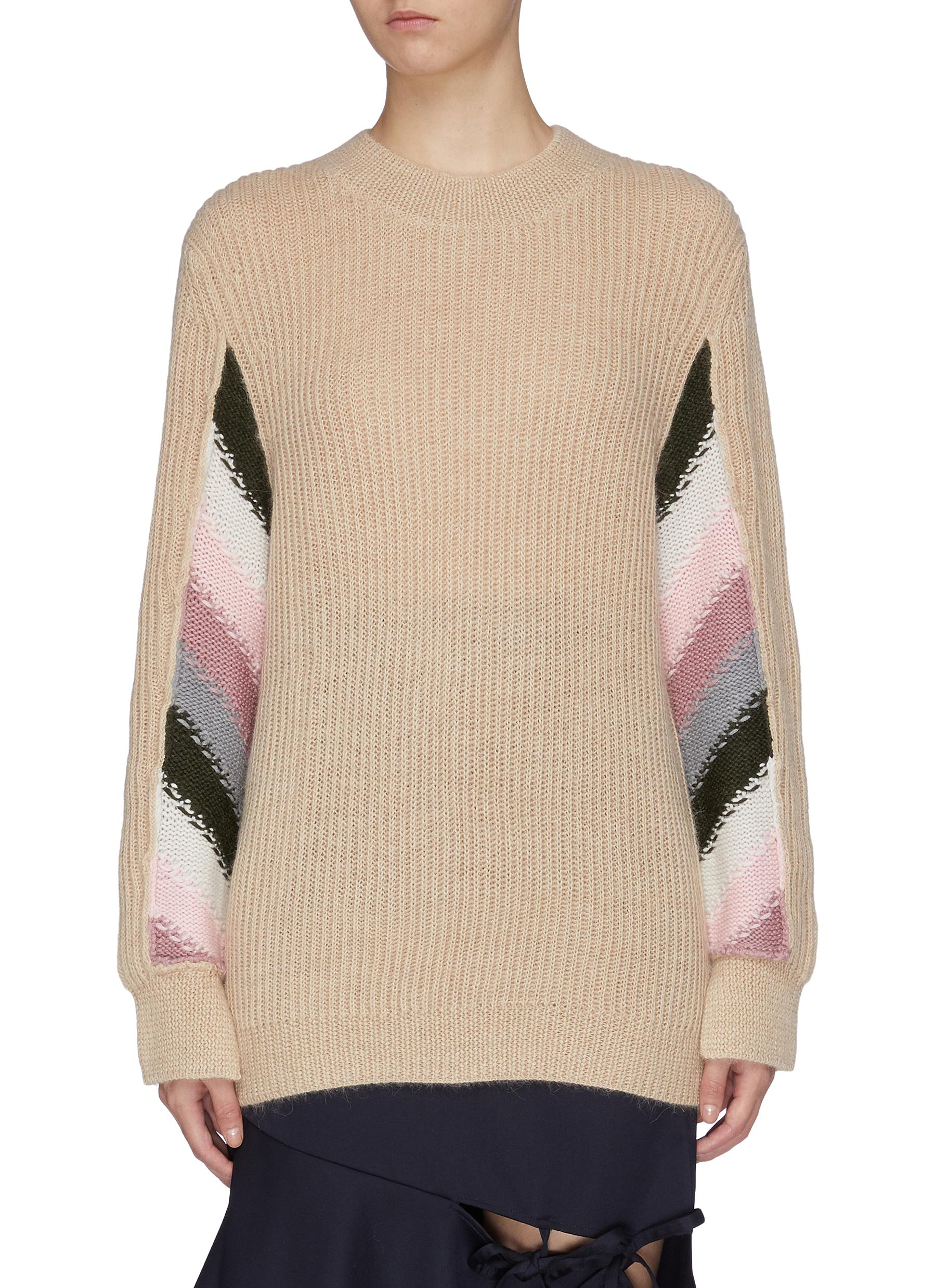 Stripe panel sleeve rib knit sweater by Jw Anderson