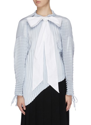 Main View - Click To Enlarge - JW ANDERSON - Sash tie neck pleated asymmetric top