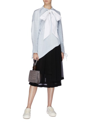 Figure View - Click To Enlarge - JW ANDERSON - Sash tie neck pleated asymmetric top