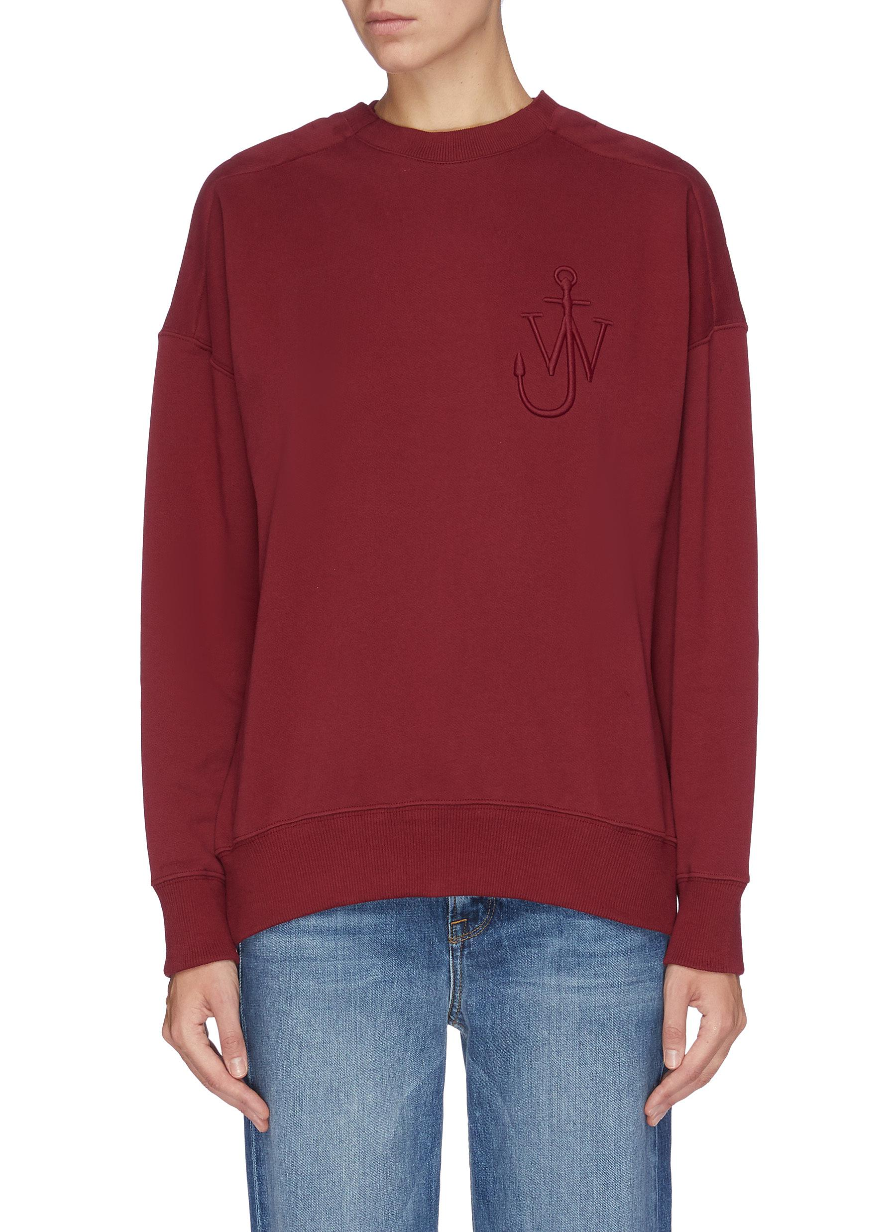 Button shoulder logo embroidered sweatshirt by Jw Anderson