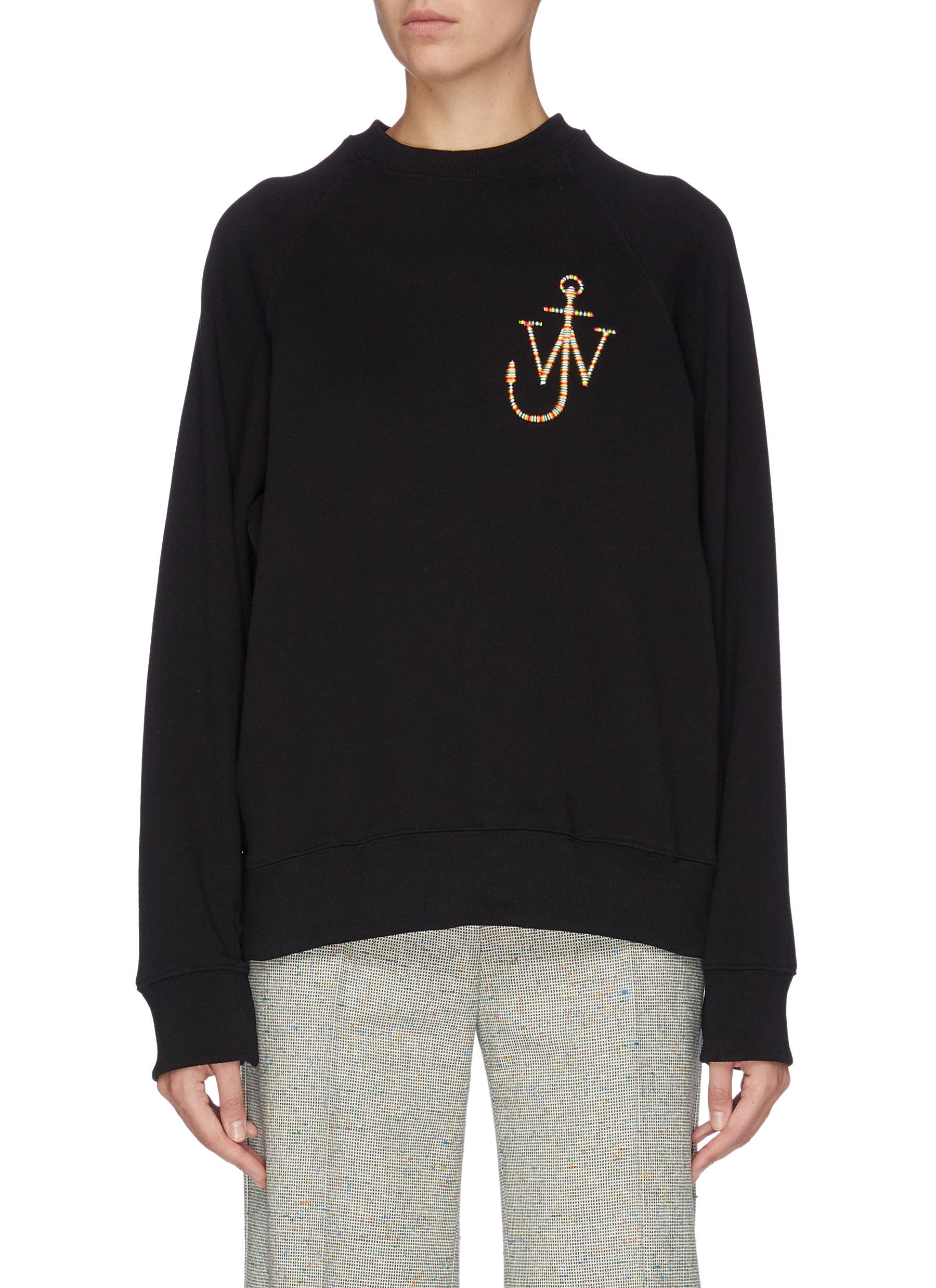 Button sleeve logo embroidered sweatshirt by Jw Anderson