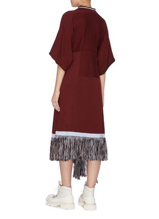Back View - Click To Enlarge - JW ANDERSON - Asymmetric fringe hem polo shirt dress