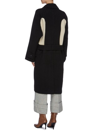 Back View - Click To Enlarge - JW ANDERSON - Belted contrast rib knit panel melton coat