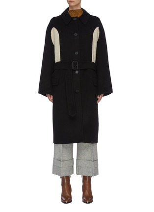 Main View - Click To Enlarge - JW ANDERSON - Belted contrast rib knit panel melton coat