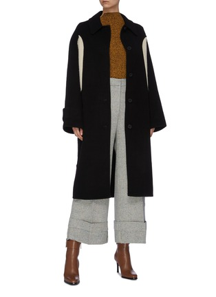 Figure View - Click To Enlarge - JW ANDERSON - Belted contrast rib knit panel melton coat