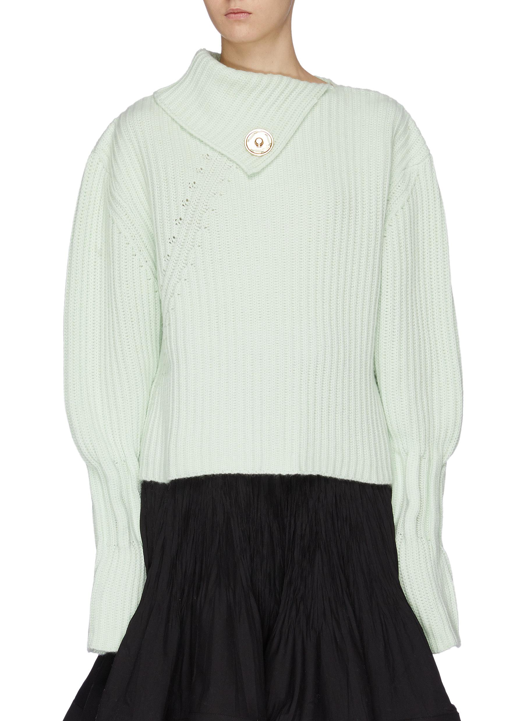Folded collar bishop sleeve rib knit sweater by Jw Anderson