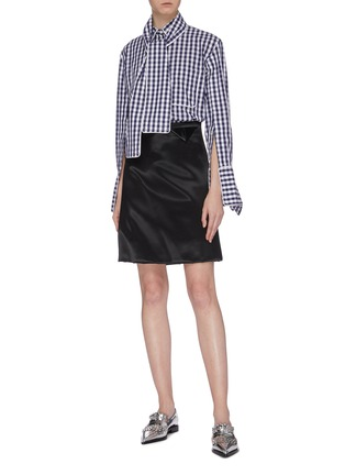 Figure View - Click To Enlarge - JW ANDERSON - Scarf panel extended cuff gingham check shirt